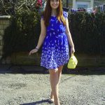 outfit of the day blue bird print new look dress