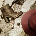 Autumn Winter Accessories that last for Years, Black Leather Ankle Boots, Dark Lipstick, Berry Trilby, Nude Nails, Big Scarf